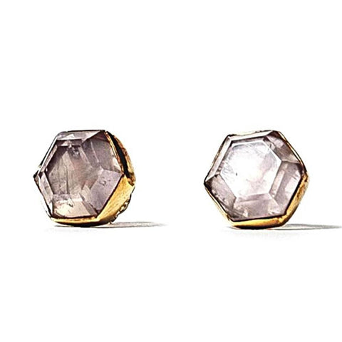 Honeybee Studs - Rose Quartz & Brass