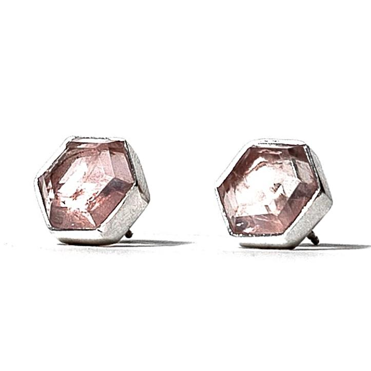 Honeybee Studs - Rose Quartz & Silver