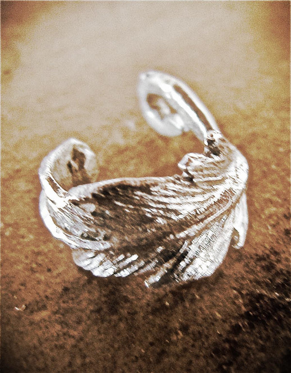 Feather earcuff ear cuff sterling silver tiny