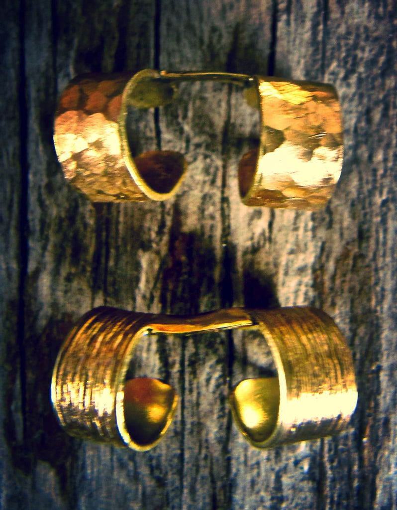 double earcuff ear cuff brass gold hammered brushed