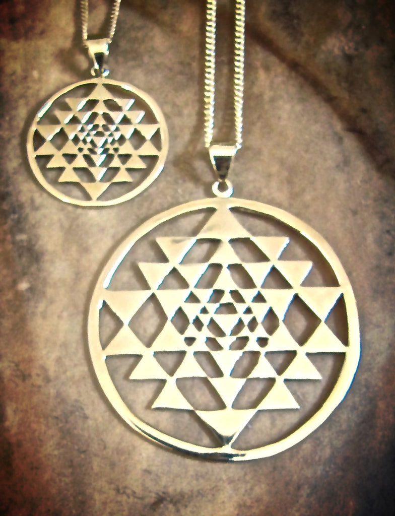 Sri Yantra necklace pendant brass sacred geometry mandala yoga jewelry 30mm 45mm