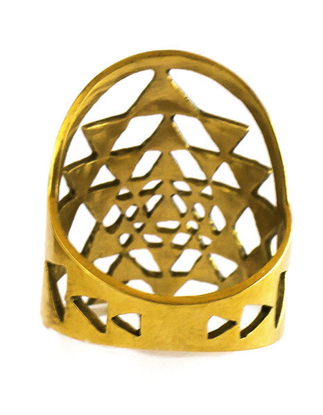 Sri Yantra Ring brass sacred geometry mandala yoga jewelry Size 6 Size 7 Size 8