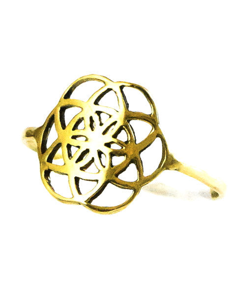 Seed of Life Ring Brass small