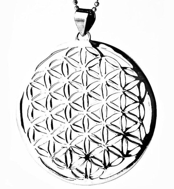 Flower of Life necklace pendant sterling silver sacred geometry 30mm 45mm