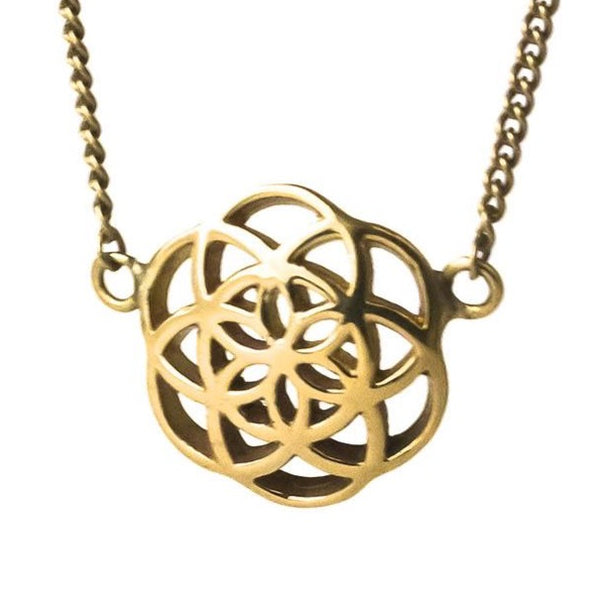 Seed of Life necklace brass small