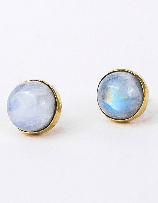 Moonstone Studs - Brass