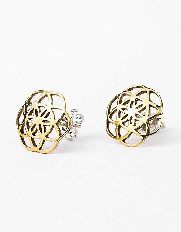 Seed of Life studs earrings brass sacred geometry