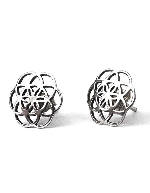 Seed of Life studs earrings sacred geometry sterling silver