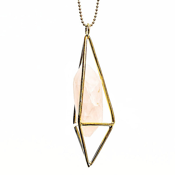 Lumia Necklace - Rose Quartz & Gold