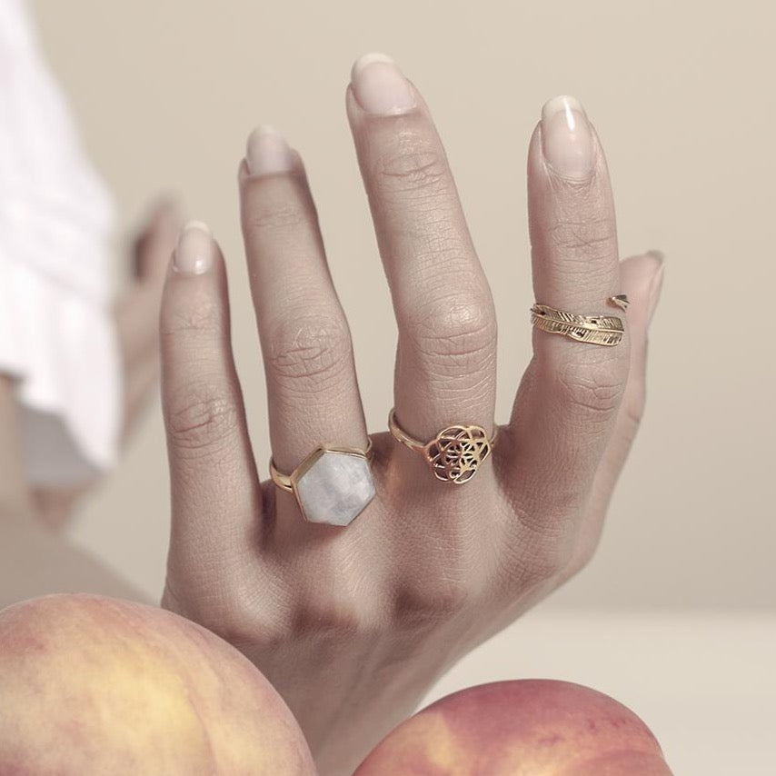 Honeybee Ring - Moonstone & Gold