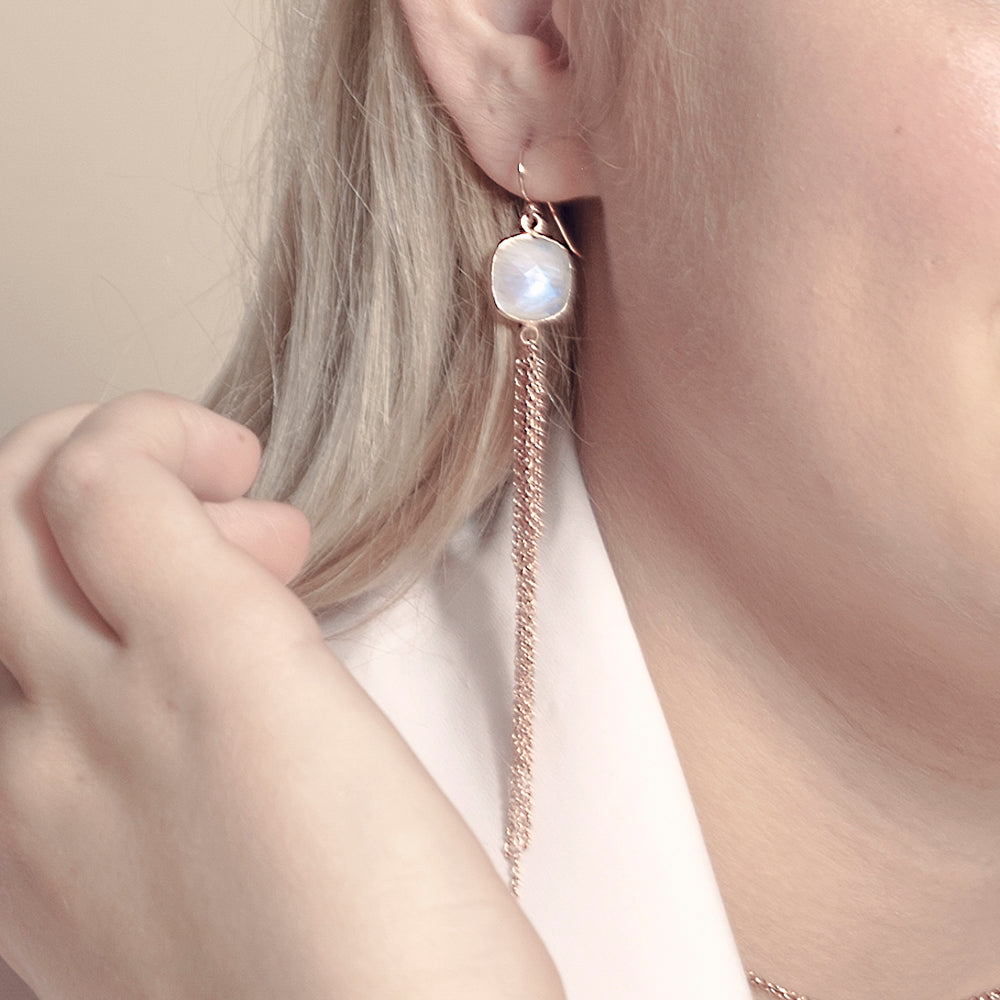 Aurora Earrings - Rose Gold & Moonstone
