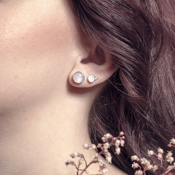 Moonstone Studs - Silver