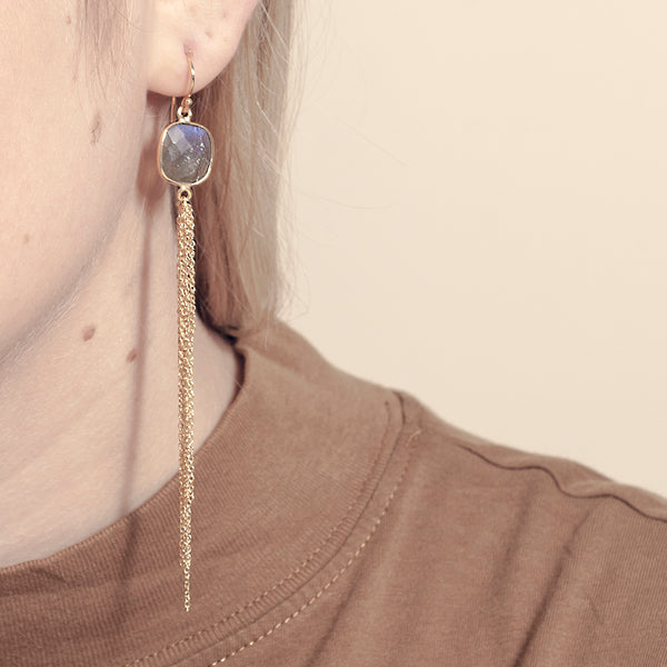 Aurora Earrings - Gold & Labradorite