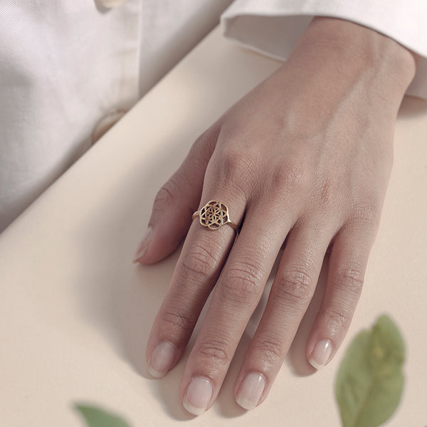 Sweet Seed of Life Ring - Brass