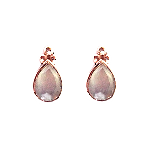 Mandvi Studs - Grey Moonstone & Rose Gold