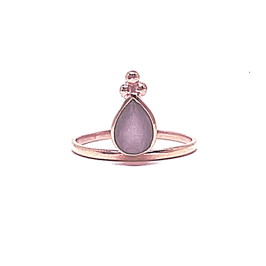Mandvi Ring - Grey Moonstone & Rose Gold