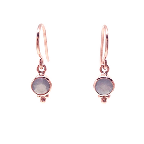 Naliya Earrings - Grey Moonstone & Rose Gold