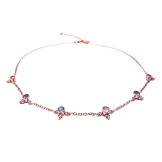 Naliya Necklace - Grey Moonstone & Rose Gold