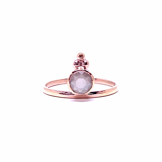 Naliya Ring - Grey Moonstone & Rose Gold