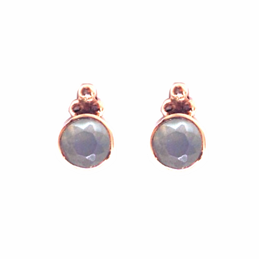 Naliya Studs - Grey Moonstone & Rose Gold