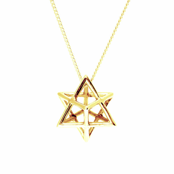Merkaba necklace pendant gold plated brass