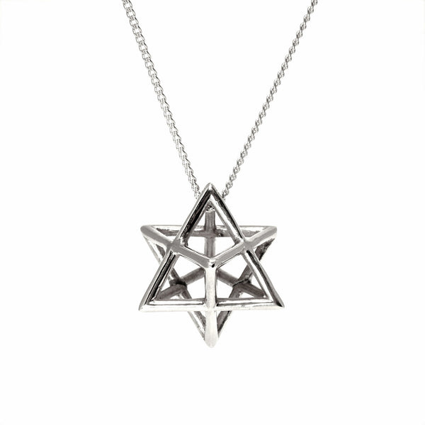 Merkaba necklace pendant sterling silver sacred geometry star of david