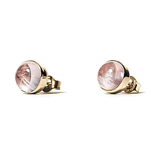 Rose Quartz Studs - Brass