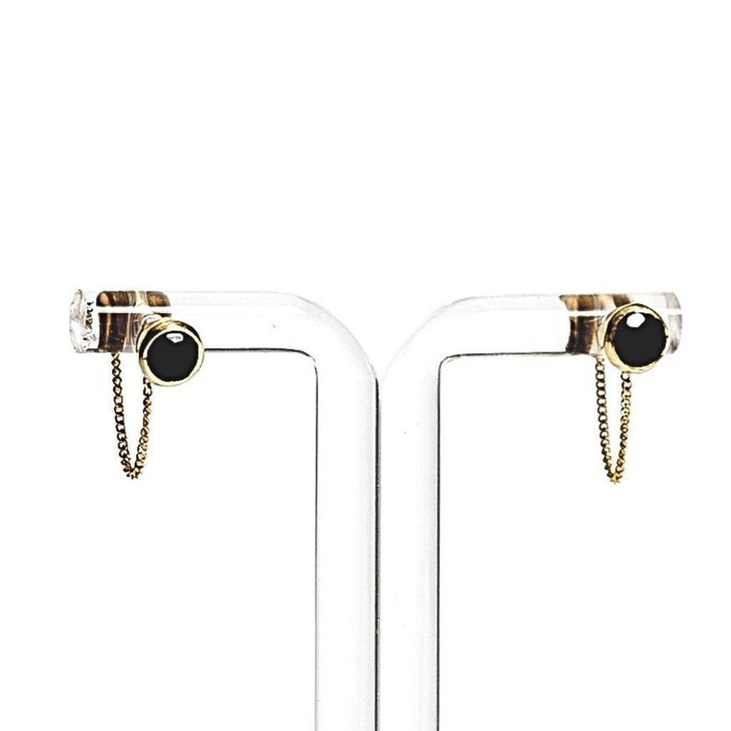 Una Earrings - Black Onyx & Gold
