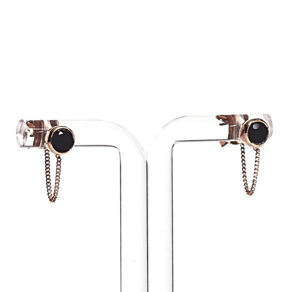 Una Earrings - Black Onyx & Rose Gold