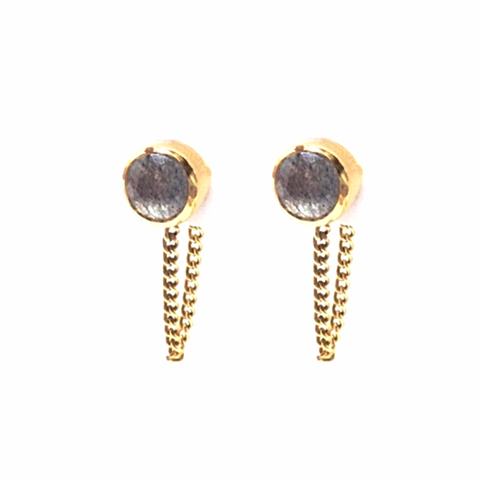 Una Earrings - Labradorite & Gold