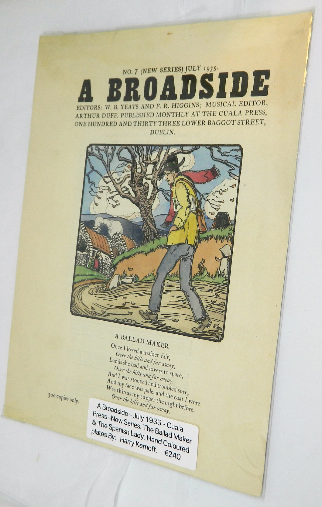 A Broadside 1935 - Original Cuala Press printing. Harry Kernoff.