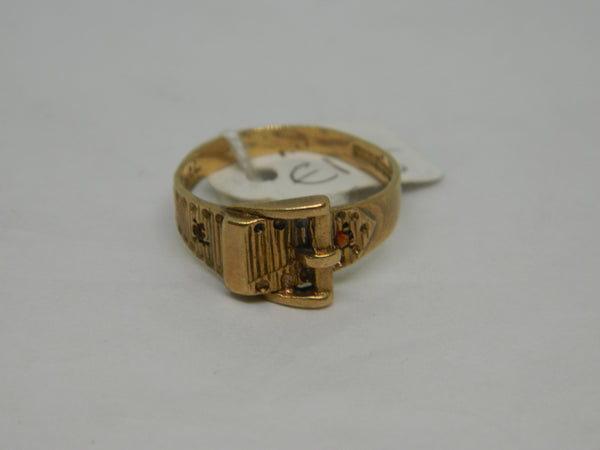 9ct Gold Buckle Ring With Ruby.