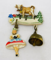 Dutch Cow and Maids Brooch with Bell 1970's