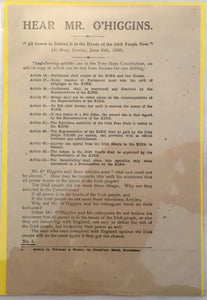 Irish Civil War Republican Propaganda Hand bill - June 1922 - May 1923.