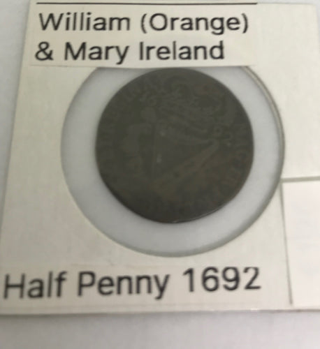 William and Mary Half Penny - Ireland - 1692