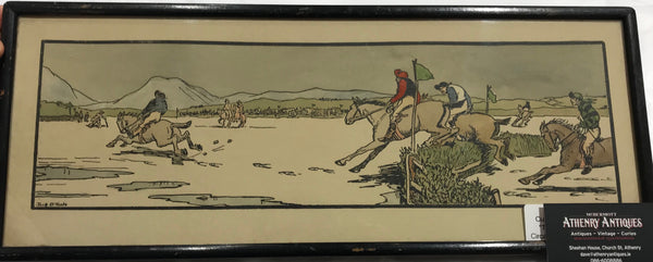 Jack B. Yeats - Hand Coloured Cuala Press Woodblock Print - The Strand Races - The Start - 1935