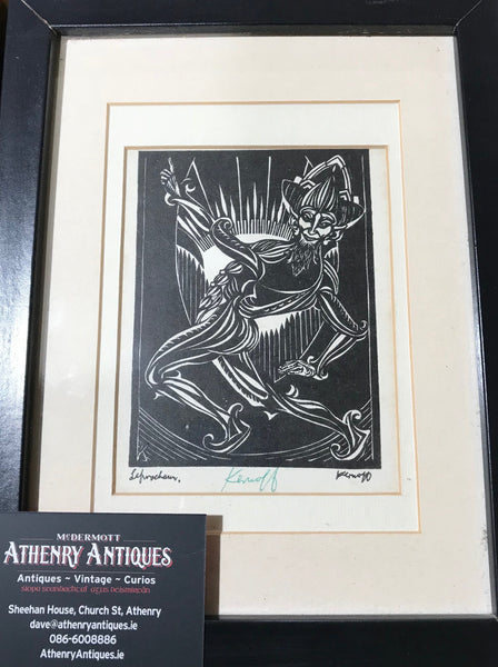 Original Harry Kernoff - Signed Woodblock Print - The Leprechaun