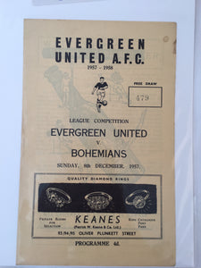 Evergreen Utd Vs Bohemians. 1957