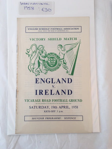 England Vs Ireland - English Schools - 1958