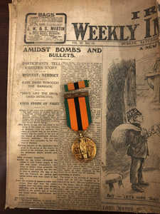 War of Independence Truce Medal & Period paper.