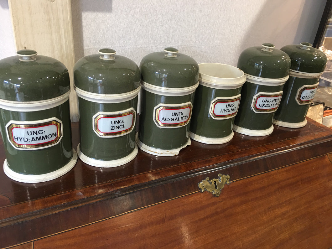 Set of 6 Victorian Apothecary Jars.
