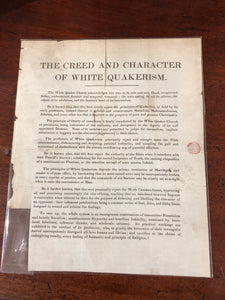 Quaker Splinter Group Propaganda Flyer, Post Marked Waterford 1844.