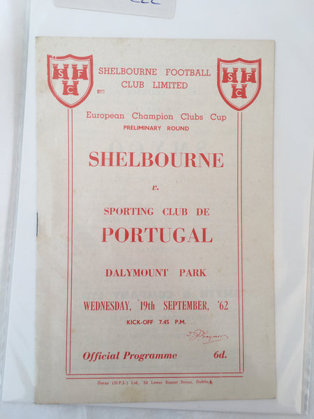 Shelbourne Vs Sporting Club de Portugal - 1962