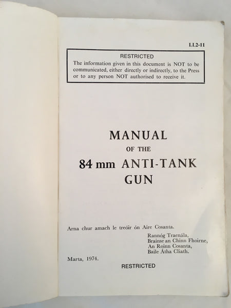 Manual of the 84mm Anti-tank gun - 1974