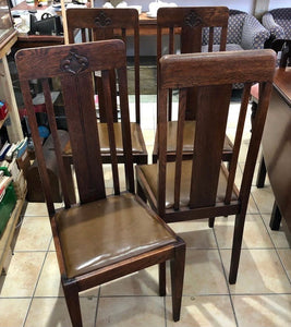 Arts & Crafts Period Oak Dining Chairs x 4