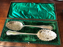 Large Pair of Cased EPNS Berry Spoons.