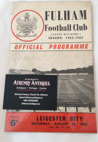 Fulman Vs Leicester - Division 1. 1962