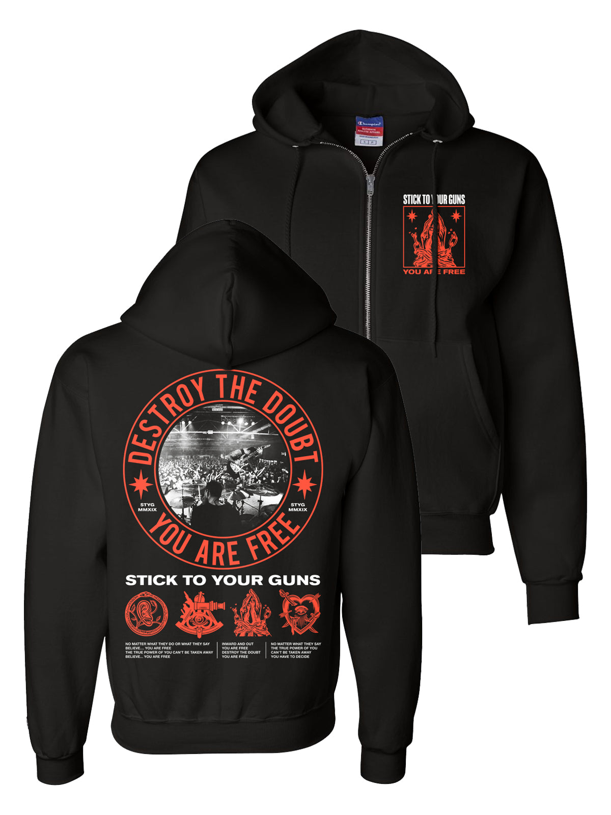Stick to Your Guns - You Are Free Champion Zip-Up - Merch Limited