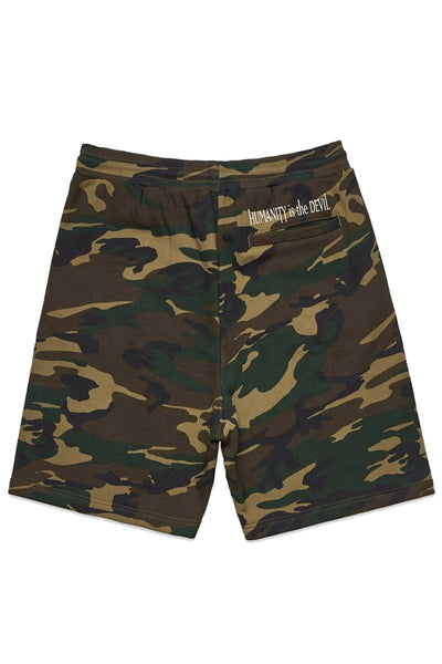 Integrity - Humanity Is the Devil Fleece Camo Shorts - Merch Limited