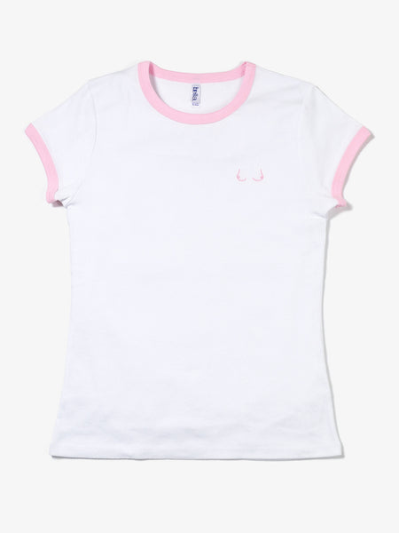 Tiddies Ringer Tee (Pink) - MerchLimited